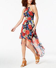 B Darlin Juniors' Printed Lace-Up High-Low Dress
