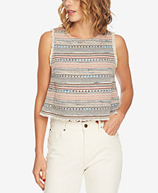 1.STATE Sleeveless Frayed Tweed Top