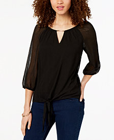 BCX Juniors' Embellished Tie-Front Top