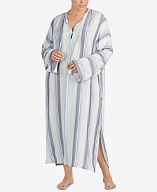 Lauren Ralph Lauren Plus Size Striped Long Nightgown