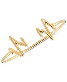 Sarah Chloe Heartbeat Cuff Bangle Bracelet in 14k Gold