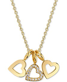 "Diamond Accent Triple Heart Charm Pendant Necklace in 14k Gold-Plated Sterling Silver, 16"" + 2"" extender"