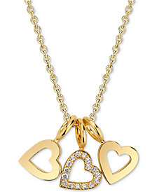 "Sarah Chloe Diamond Accent Triple Heart Charm Pendant Necklace in 14k Gold-Plated Sterling Silver, 16"" + 2"" extender"