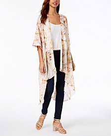 Gypsies & Moondust Juniors' Printed Open-Front Kimono
