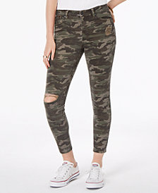 Vanilla Star Juniors' Ripped Printed Denim Skinny Jeans