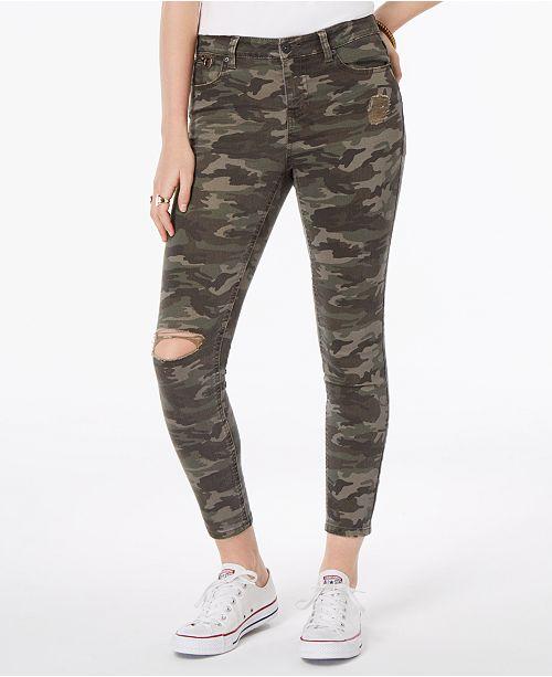 19babb3c051 Vanilla Star Juniors' Ripped Printed Denim Skinny Jeans & Reviews ...