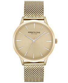 Men's Gold-Tone Stainless Steel Mesh Bracelet Watch 42mm