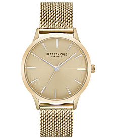 Kenneth Cole New York Men's Gold-Tone Stainless Steel Mesh Bracelet Watch 42mm