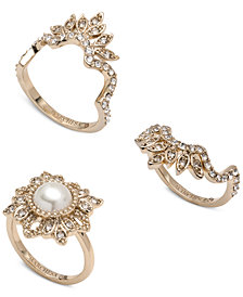 Marchesa Gold-Tone 3-Pc. Set Crystal & Imitation Pearl Stacker Rings