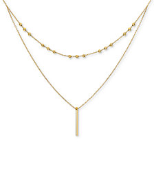 "Two-Layer Beaded & Bar 17"" Pendant Necklace in 14k Gold"