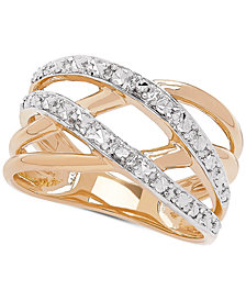Two-Tone Crossover Statement Ring in 10k Gold & Rhodium-Plate