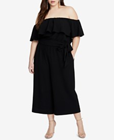 RACHEL Rachel Roy Trendy Plus Size Off-The-Shoulder Jumpsuit