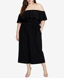 RACHEL Rachel Roy Trendy Plus Size Off-The-Shoulder Jumpsuit
