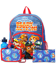 PAW Patrol 5-Pc. PAW Patrol Backpack & Accessories Set, Little & Big Boys