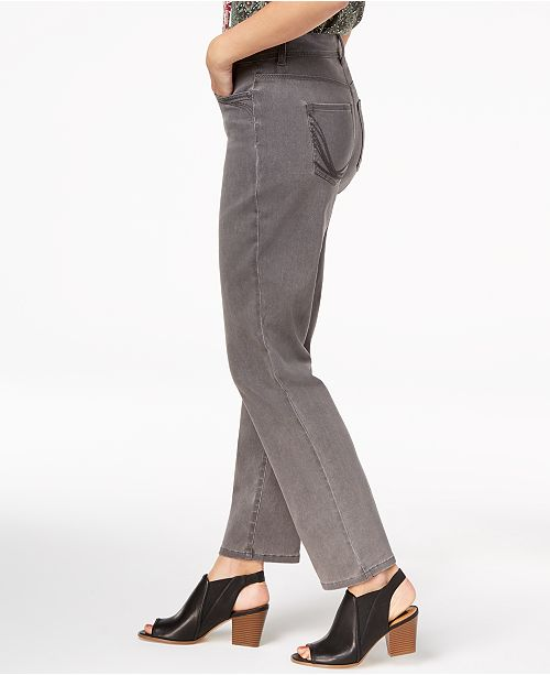 Co Leg Whisper amp; Style Petite Macy's Straight Jeans Grey for Created Ankle 6ARq4Rng