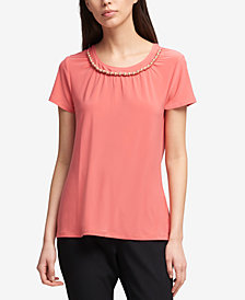 DKNY Beaded-Neck Top, Created for Macy's