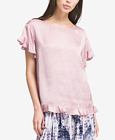 DKNY Ruffled Satin Top