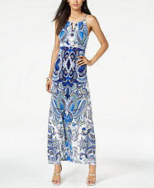 I.N.C. Petite Paisley-Print Keyhole Dress, Created for Macy's