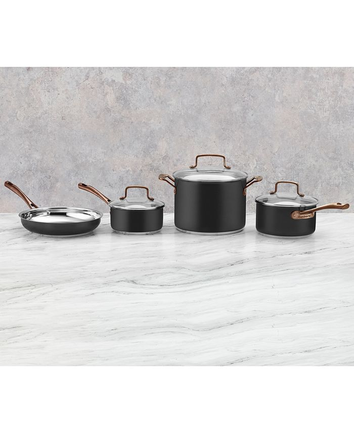 Cuisinart - Onyx Black & Rose Gold 7-Pc. Stainless Steel Cookware Set