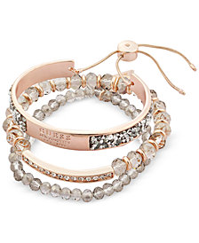 GUESS Rose Gold-Tone 3-Pc. Set Crystal & Bead Bracelets