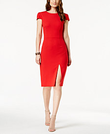 Betsey Johnson Cap-Sleeve Slit Dress