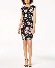 Ivanka Trump Floral-Print Ruched Jersey Dress