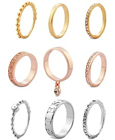Tri-Tone 9-Pc. Set Crystal Stacker Rings
