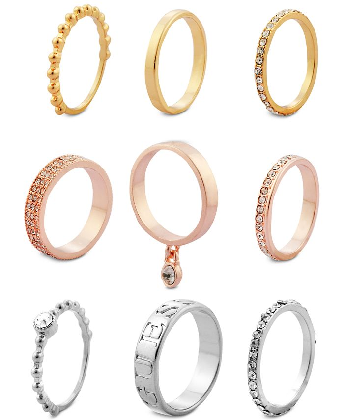 GUESS - Tri-Tone 9-Pc. Set Crystal Stacker Rings