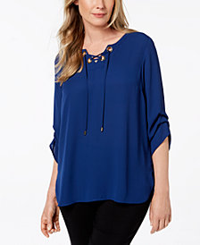 JM Collection Petite Grommet Lace-Up Top, Created for Macy's