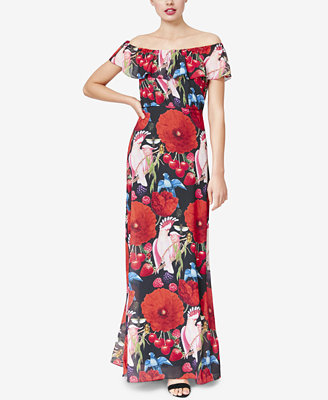 Floral Printed Off The Shoulder Maxi Dress by Betsey Johnson