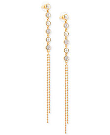 GUESS Two-Tone Crystal & Ball Chain Linear Drop Earrings