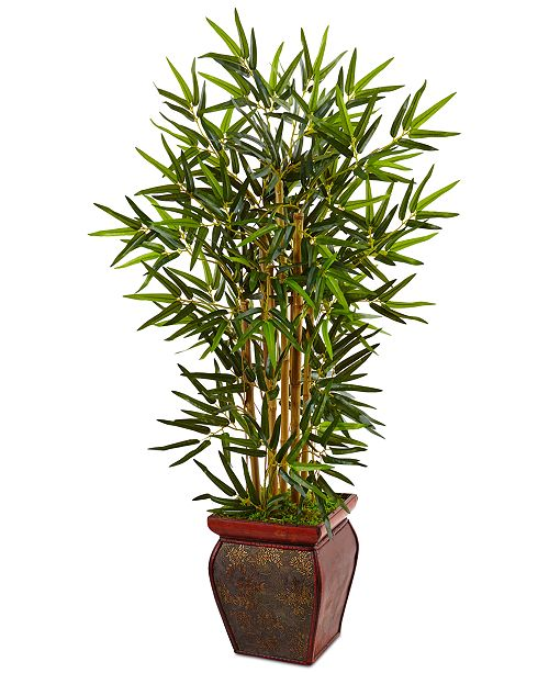 Nearly Natural 3.5' Bamboo Artificial Tree in Decorative Wooden Planter