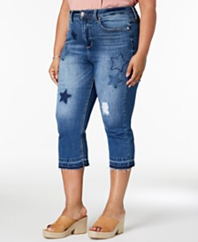 Seven7 Trendy Plus Size Patched Cropped Jeans