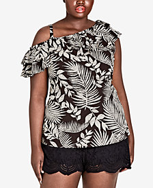 City Chic Trendy Plus Size Palm-Print Ruffle Top