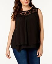 afc652f06fc Style   Co Plus Size Lace-Yoke Crochet-Trim Tiered Top