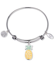 """""""You Are the Pineapple of my Eye"""" Enamel Bangle Bracelet in Stainless Steel"""