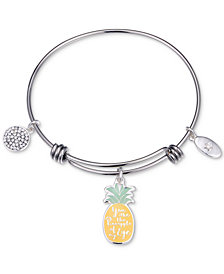 "Unwritten ""You Are the Pineapple of my Eye"" Enamel Bangle Bracelet in Stainless Steel"