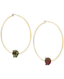 Betsey Johnson Gold-Tone Colored Pavé Owl Mismatch Hoop Earrings