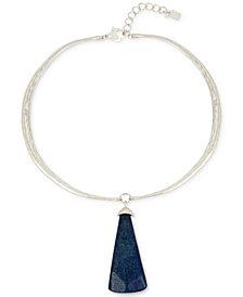 "Robert Lee Morris Soho Silver-Tone Stone Pendant Necklace, 16"" + 3"" extender"
