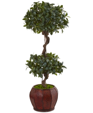 Nearly Natural 45 Sweet Bay Double Topiary Artificial Tree in Rounded Wood Planter