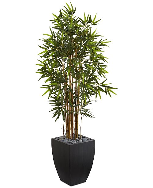 Nearly Natural 5' Bamboo Artificial Tree in Black-Washed Planter