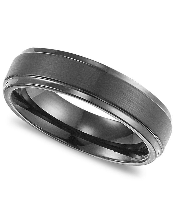 Triton - Men's Black Tungsten Carbide Ring, Comfort Fit Wedding Band (6mm)
