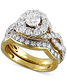 Diamond Halo Interlocking Bridal Set (2 ct. t.w.) in 14k Gold