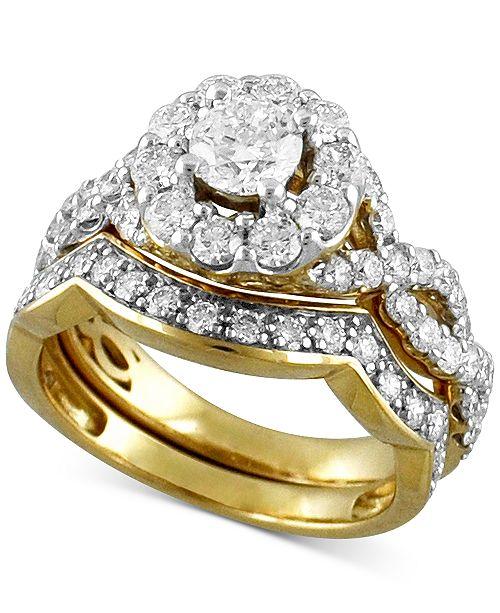 Interlocking Wedding Rings.Diamond Halo Interlocking Bridal Set 2 Ct T W In 14k Gold