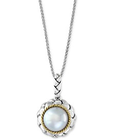 """EFFY® Cultured Freshwater Pearl (9mm) 18"""" Pendant Necklace in Sterling Silver & 18k Gold"""