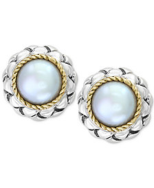 EFFY® Cultured Freshwater Pearl (8mm) Stud Earrings in Sterling Silver & 18k Gold