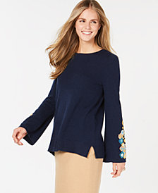 Charter Club Pure Cashmere Embroidered Sweater, Created for Macy's