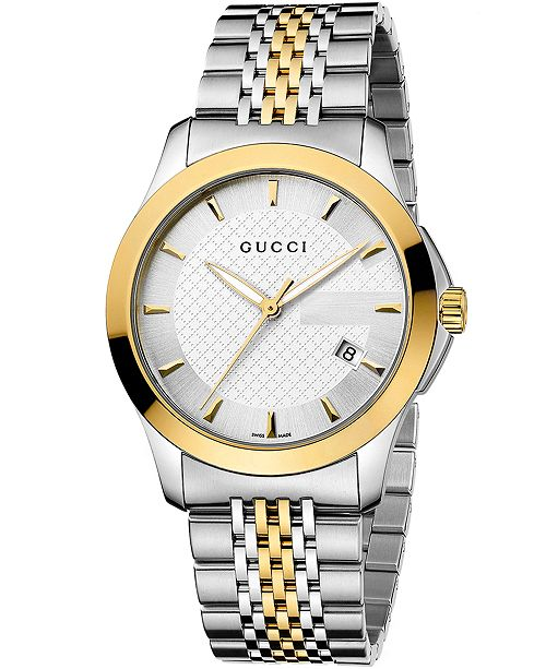475ec7c05f57a1 ... Gucci Unisex Swiss G-Timeless Two Tone Stainless Steel Bracelet Watch  38mm YA126409 ...