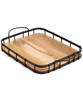 CLOSEOUT! Farmhouse Wood & Wire Tray, Created for Macy's