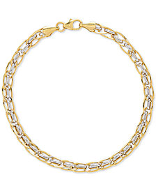 Two-Tone Interlocking Link Bracelet in 10k Gold